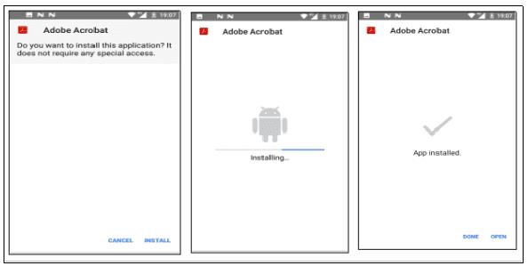 Figura 2: instalação do APK malicioso, iniciando em background o processo mal-intencionado